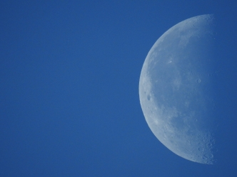 Morning Moon With Blue Sky 6-17-2017
